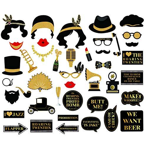 Sayala 42 Stücke Roaring 20er Jahre Photo Booth Props,Roaring 1920er Jahre Gatsby Photo Booth Requisiten 20 Geburtstagsparty Bridal Shower Hen Party Dekoration Gefälligkeiten