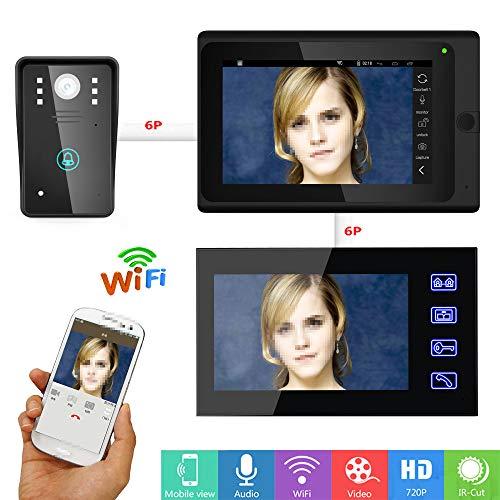 Ccd-kamera-system (JaidWefj Video Türsprechanlage Türklingel Gegensprechanlage System mit 1 Kamera 2 Monitor/7 Zoll Monitor mit IR-Cut HD 1000TVL CCD Kamera/Nachtsicht)