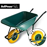 BullPower Bauschubkarre Schubkarre 100 L PSK-100 Gartenkarre Kunststoffmulde Schiebkarre Grün mit PU Vollgummirad