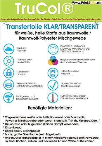 Inkjet Transferpapier zum aufbügeln auf helle T-Shirts, DIN A4, 20 Blatt Transferfolie T-Shirtfolie KLAR/TRANSPARENT für Baumwollstoffe und Bauwoll-Polyester Mischgewebe und Lycra-Stoffe (Lycra-folie)