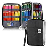 YOUSHARES 192 Slots Colored Pencil Case, 120 Gel Pens Large Capacity Pencil Holder Pen Pt mit Zipper für Prismacolor Watercolor Coloring Pencils & Markers for Student & Artist (Schwarz)