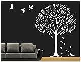 Deco-idea Wandtattoo wandaufkleber Wohnzimmer Baum Vogel wbm64(070 schwarz, set4:Baum ca.100x150cm (Hoch))