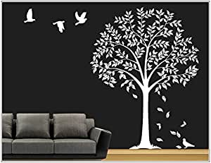Deco-idea Sticker Mural Arbre Branches vrille Salle de séjour,Salon 40 Couleurs pour Le Choix wbm64(071 Gris, set4:Arbre ca.100x150cm (H))