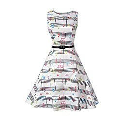 iBaste Women's Retro Vintage Sleeveless Cocktail Swing Evening Party Wedding Casual Tea Dresses with Belt
