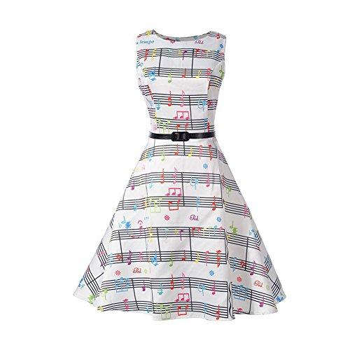 iBaste Vintage Vestidos sin Manga Mujer Impresión de Nota Musical Dress Falda Oscilante Rockabilly Clásico Estilo