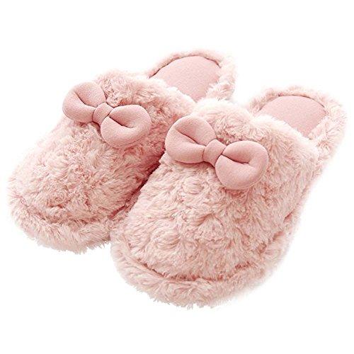 Eastlion Damen Lovely Winter Warm Halten Draussen Plüsch Home Innenbereich Schuhe, Sippers mit rosa Schleife, EU41 42 Rosa