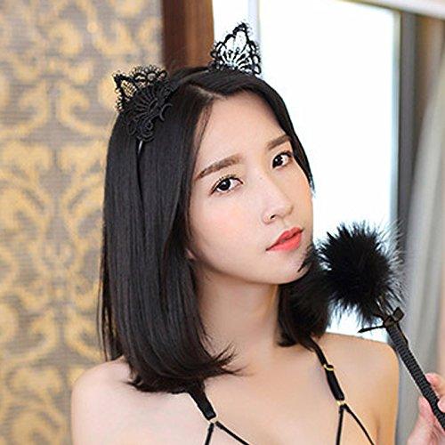 tpocean Sweet schwarz weiß Spitze Katze bunny Ohren Stirnband Sexy Haarband Spannreifen Frauen Mädchen Make-up mit Kopfbedeckungen für den täglichen Cosplay Kostüm (Girl Sexy Kostüme Show)