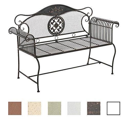 Clp panchina da giardino shabby chic rike – panca giardino in metallo laccato con schienale e braccioli i panca esterno stile liberty seduta 102x44cm i panca da balcone bronzo