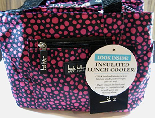 nicole-miller-of-new-york-insulated-lunch-cooler-black-pink-dots-11-lunch-tote-by-nicole-miller