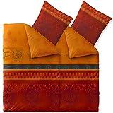 Bettwäsche 4tlg 155x220 Baumwolle Set Kopfkissen Bettbezug Reißverschluss atmungsaktiv Bett Garnitur 80x80 Kissen Bezug CelinaTex 6000016 Fashion Legra rot orange grau