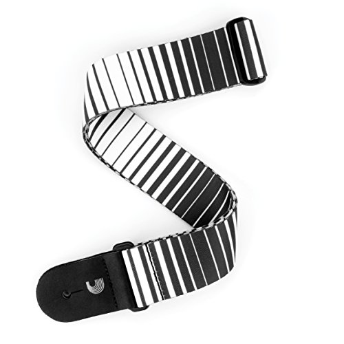 D'Addario P20S1508 Rock Stripes Gitarrengurt, weiß/schwarz (Guitar Rock Straps)