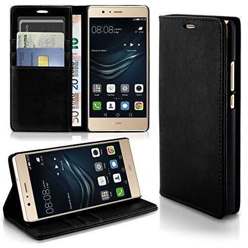 Caso casual per il Huawei P9 Lite | caso conveniente con slot per schede e la funzione del basamento | Sacchetto di protezione di custodia OneFlow | Copertura di vibrazione in Onyx
