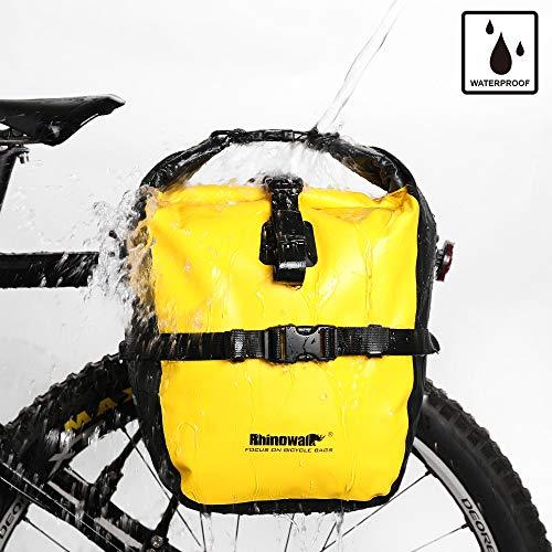 Rhinowalk Fahrradtasche, wasserdicht, für Fahrradgepäckträger, Satteltasche, Laptop, Gepäckträger, Fahrradtasche, professionelles Fahrrad-Zubehör, Yellow(20L)