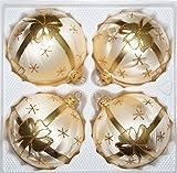 4 TLG. Glas-Weihnachtskugeln Set 10cm Ø in Ice Champagner Goldene Schleife - Christbaumkugeln - Weihnachtsschmuck-Christbaumschmuck 10cm Durchmesser