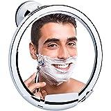 KEDSUM Miroir de Rasage Anti-Buée, Miroir Salle de Bain, Miroir de Douche pour Rasage Maquillage, Ventouse d'Attache, 360° Pivotant, Anti-Brouillard, Porte-Tondeuse Intégré, Cadre Chromé