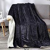 Oikupe Sherpa Fleece Blanket Twin Size Plush Throw Blanket Fuzzy Soft Blanket Microfiber Geeignet Winter für Schlafcouch Wohnzimmer (Grau-schwarz),100x120cm