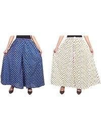 Fashion Store Women's Cotton Stylish Printed Full Flair White & Blue Plazo (Free Size, Set Of 2)