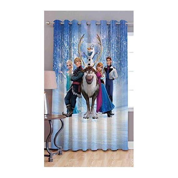 Amazin Homes 3D Digital Print Frozen Curtains Kids Cartoon Window Door Print Curtains