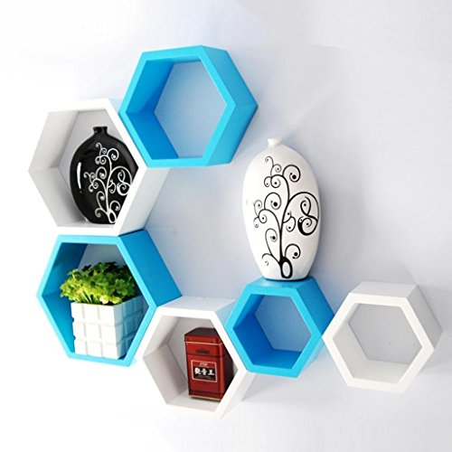 Usha Furniture Graywood Hexagon Shape Wall Shelf Set Of 6 | White & Sky Blue  available at amazon for Rs.1899