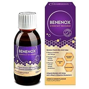 Benenox Overnight Recharge Food Supplement, 135 ml, Lemon and Ginger