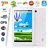 Tablette tactile 3G 7 pouces Android 4.4 Dual core SIM GPS 4Go Blanc