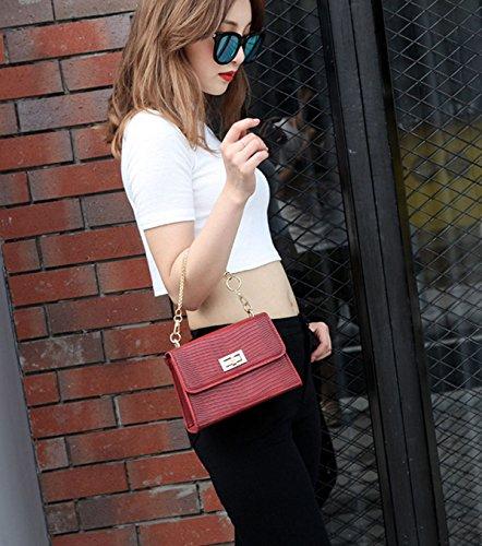 Borsa A Tracolla Messenger Mini In Pelle PU Borse A Tracolla Piccola In Pelle Crossbody Bag (rosso Verde Nero) Red