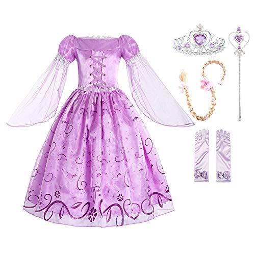 Mädchen Kostüm Violett Prinzessin - ReliBeauty Mädchen Prinzessin Rapunzel Kleid, Lila(mit Zubehör), 110-116(Etikett 110)