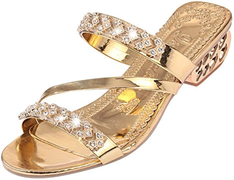 WHLShoes Sandalias Y Chanclas para Mujer Tamaño Grande De Mujeres Sandalias Verano Rhinestones Zapato Abierto...