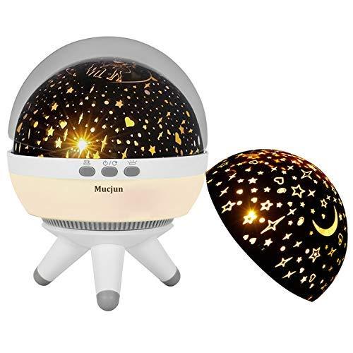 (Mucjun 360 Grad Rotierende Romantische LED Sternenhimmel Projektor Lampe Nachtlicht Projektionslampe Dekorative Nachtlicht Projektor für Baby Zimmer, Schlafzimmer, Spielzimmer, Kinderzimmer, Halloween)