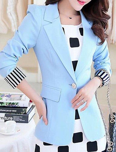 Zhenfu Informal Femme / Daily Simple Printemps Blazer, Solid Notch Revers À Manches Longues Polyester Regular Light Blue