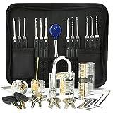 IPSXP Kit de Crochetage Serrure 26 Pièces, Kit De Lock Picking avec 3 Serrures, Outils D' entraînement Transparents Cadenas avec Housse de Transport pour Serruriers Débutants et Professionnels