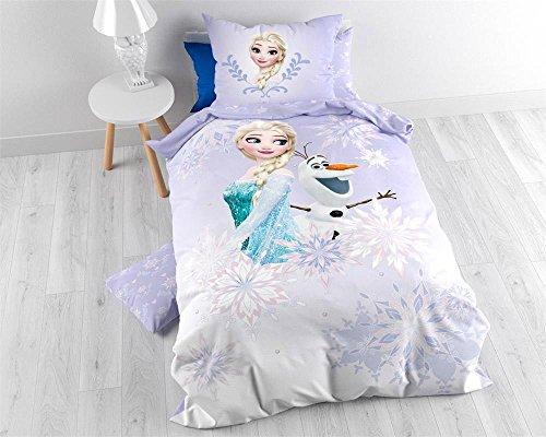 Character World-Funda nórdica de 140x 200cm + funda de almohada de 60x 70cm bajo licencia Anna y Elsa de Frozen 100% franela algodón rosa 24x 30cm