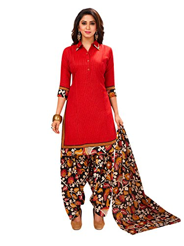 Jevi Prints Women's Unstitched Cotton Red & Multicolor Floral Printed Patiyala Style...