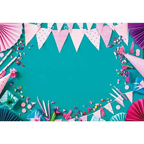 MMPTn 8x6.5ft Vinyl Geburtstag Fotografie Hintergrund Bunte Party Zubehör Rahmen Teal Hintergrund Kind Kinder Baby Birthday Party Banner Neugeborenen Schießen Kindisch Wallpaper Studio