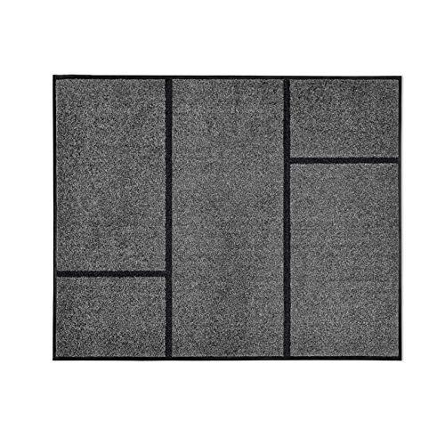 casa pura Moderne Fußmatte GEO   Zeitloses Design mit geometrischem Muster   rutschfeste Schmutzfangmatte mit Bester Reinigungswirkung   Türvorleger in edlem Anthrazit   3 Größen (72x90 cm)