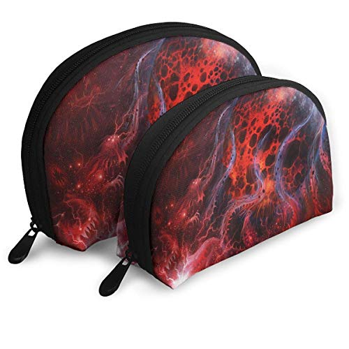 Abstract Wolle (Portable Shell Makeup Storage Bags Art Space Abstract Red Line Travel Waterproof Toiletry Organizer Clutch Pouch for Women)