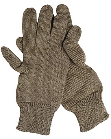Genuine Swedish Army Issue Combat Winter Knitted Wool Gloves - Khaki