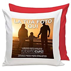 Idea Regalo - Cuscino Personalizzato con Foto - Rosso, 40x40 cm - con Imbottitura