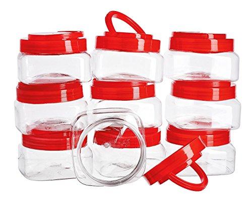 Preisvergleich Produktbild 10 Vorratsbehälter mit rotem Deckel Kunststoff 150ml VBS Großhandelspackung