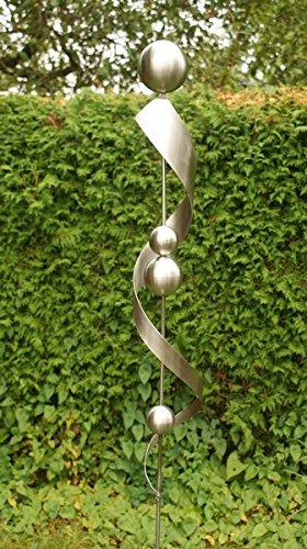 Gartendeko in Edelstahl aus 100 % Edelstahl Spirale mit 4 Kugeln*