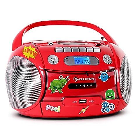 auna Boomheart Ghettoblaster Kassettenplayer (Sticker-Set, CD-Player, UKW-Radio, MP3-fähiger USB-Port, Netz-/Batteriebetrieb, transportabel)