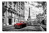 Startonight Leinwand Wand Kunst Schwarz und Weiß Das rote Auto in Paris, Doppelansicht Überraschung Modernes Dekor Kunstwerk Gerahmte Wand Kunst 100% Ursprüngliche Fertig zum Aufhängen 80 x 120 CM