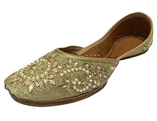 Style Étape N Mujeres Zapatos De Khussa Étnico Jutti Jooti Tenue Kameez Pantoufle De Sandale Plat, Multicolore Couleur, Talla 39 1/3