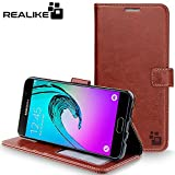 Samsung A9 Pro Cover, REALIKE™ {Imported} Premium Leather Wallet Flip Case for Samsung Galaxy A9 Pro (Royal Series – Brown)