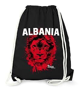 Turnbeutel EM WM Albanien Albania Löwe Flagge Shqipërisë Lion Flag Fußball MoonWorks® Fan Gym Bag schwarz unisize