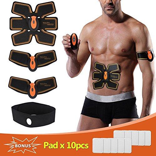 Bauchmuskeltraine/Muskelstimulator,Yiitay Elektrostimulation Muskel Trainer EMS Gerät EMS TrainingSgerät Fitness Bauch Einfache Fitness Leicht zu tragen für Männer Frauen Geschenk(USB-Ladung)(Black With Orange)