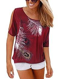 ISASSY - T-shirt Femme Col Rond Épaules Dénudées Manches Courtes Tee Shirt Top Haut Imprimé Plume Taille Loose
