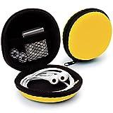 MyGadget Universal Mini Tasche Schutztasche - Kopfhörer Transport Box mit Netzfach - Zubehör für z.B. In Ear Ohrhörer, iPod Shuffle, USB Sticks - Gelb