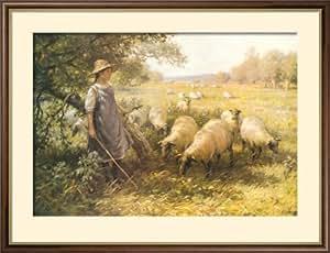 Framed Posters: - William Kay Blacklock The Shepherd's Daughter Framed Art Print (61 x 76 cm)