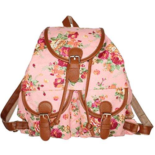 YiLianDa Damen Schultasche Mädchen Schulrucksack Vintage Retro Canvas Rucksack Schultasche Daypacks Freizeit Pink